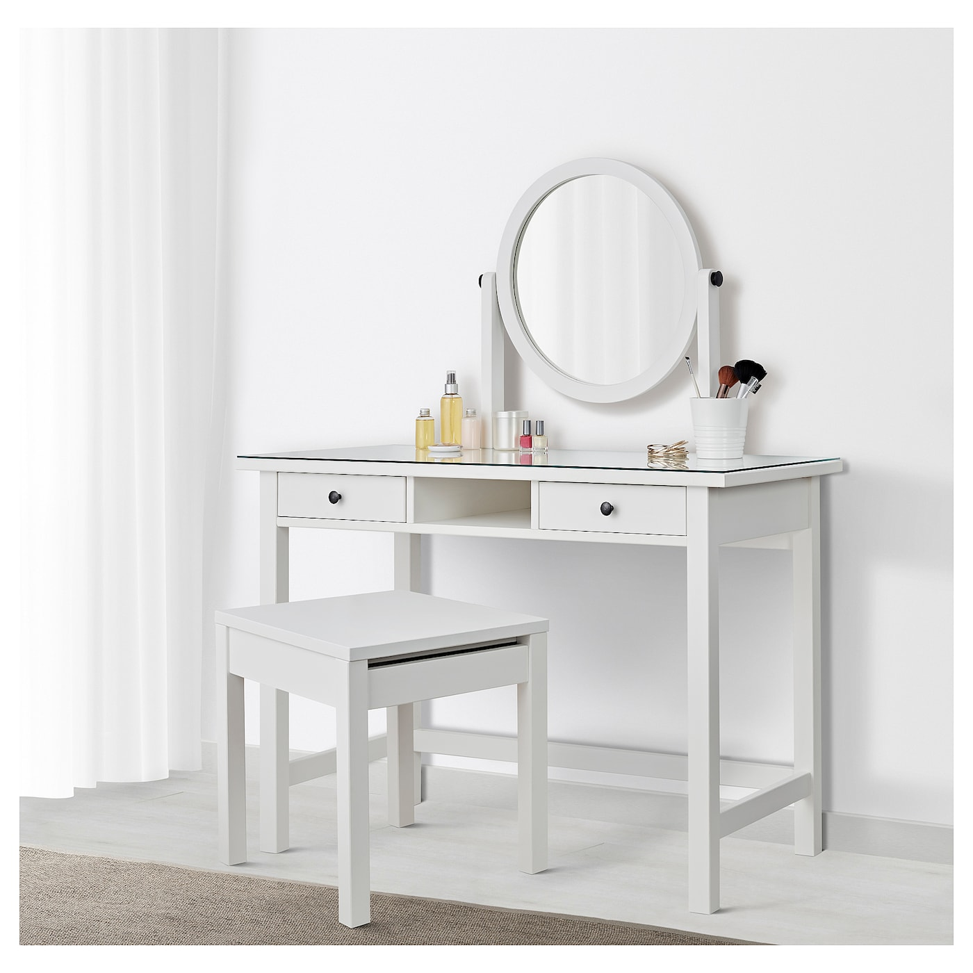 hemnes coiffeuse avec miroir blanc 110 x 45 cm ikea. Black Bedroom Furniture Sets. Home Design Ideas