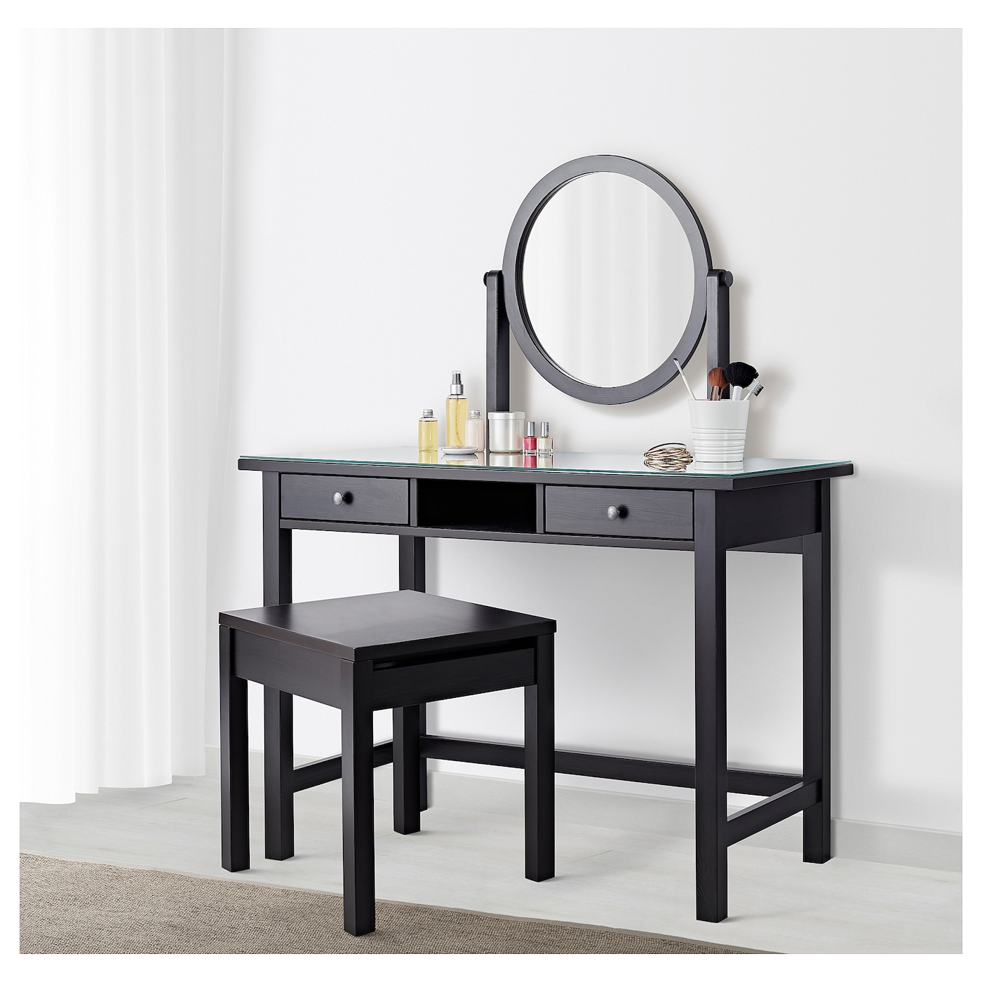 hemnes coiffeuse avec miroir brun noir 110x45 cm ikea. Black Bedroom Furniture Sets. Home Design Ideas