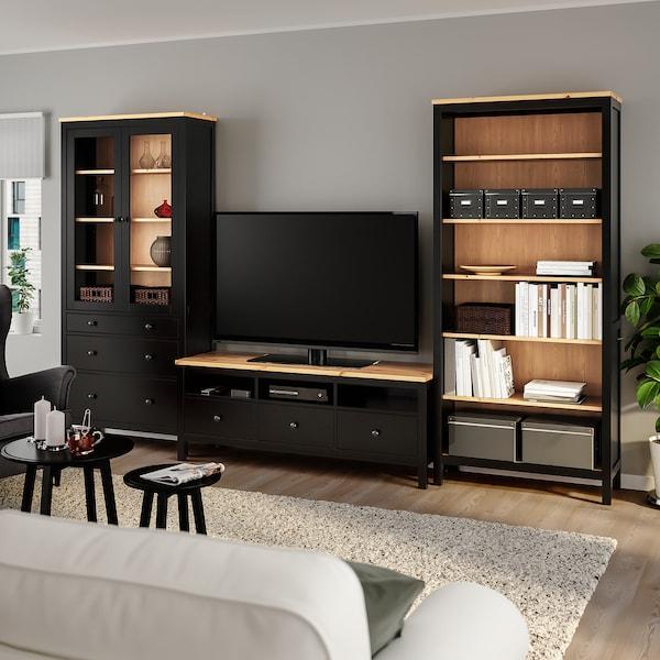HEMNES Combinaison meuble TV, brun noir/brun clair verre transparent, 326x197 cm