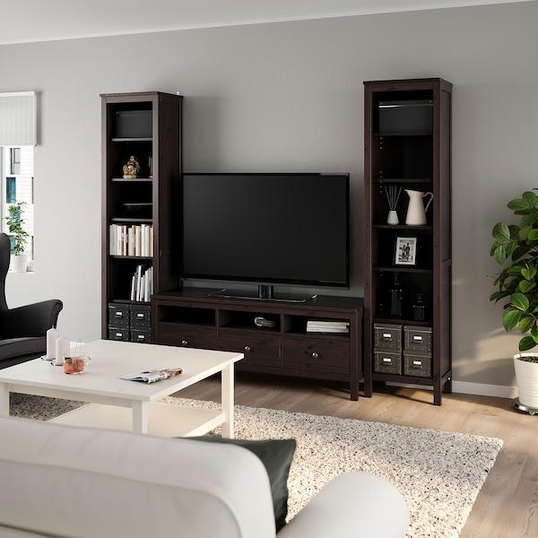 HEMNES Combinaison meuble TV, brun noir, 245x197 cm