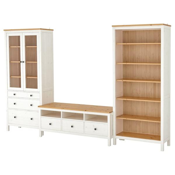 HEMNES Combinaison meuble TV, teinté blanc/brun clair verre transparent, 326x197 cm