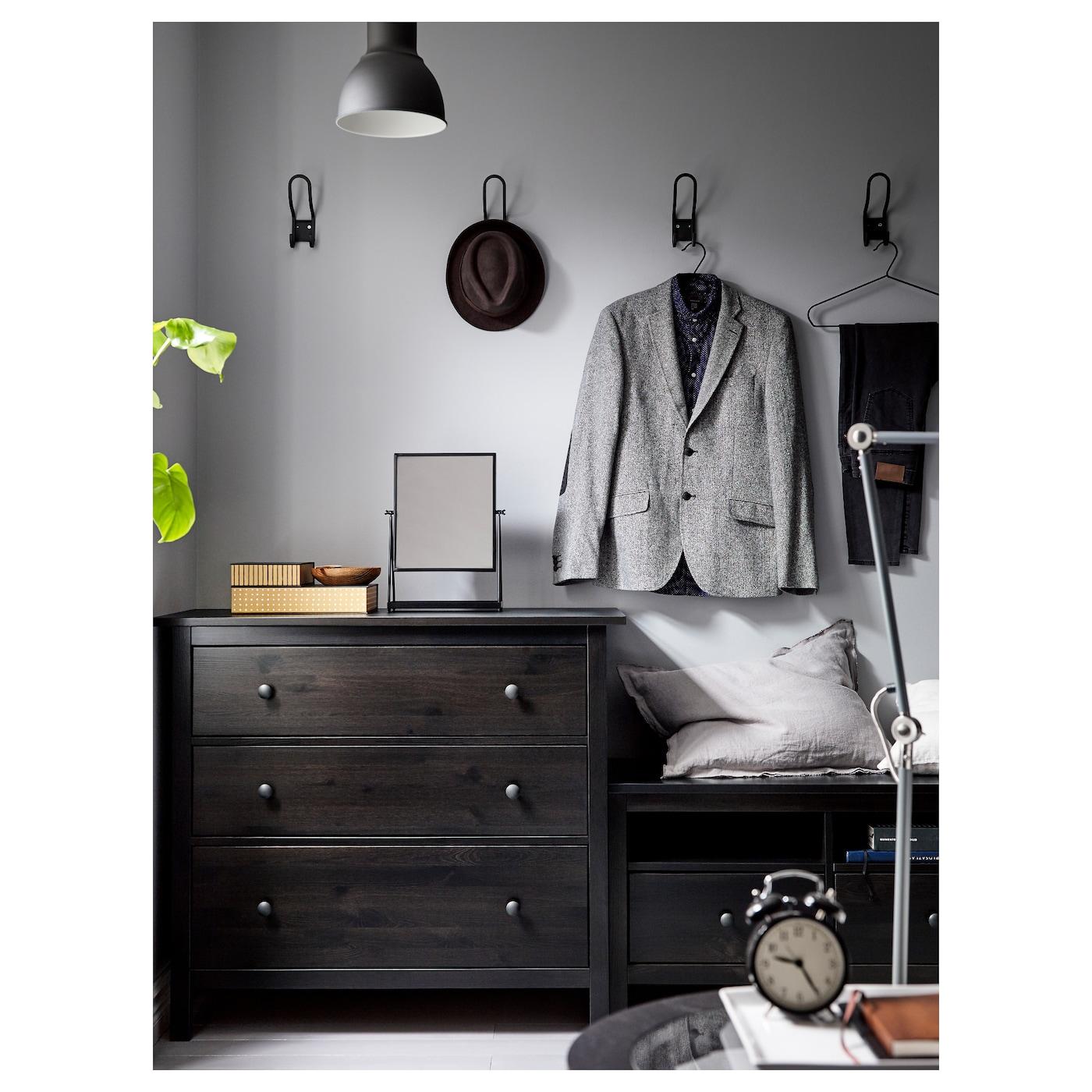 hemnes commode 3 tiroirs brun noir 108 x 96 cm ikea. Black Bedroom Furniture Sets. Home Design Ideas