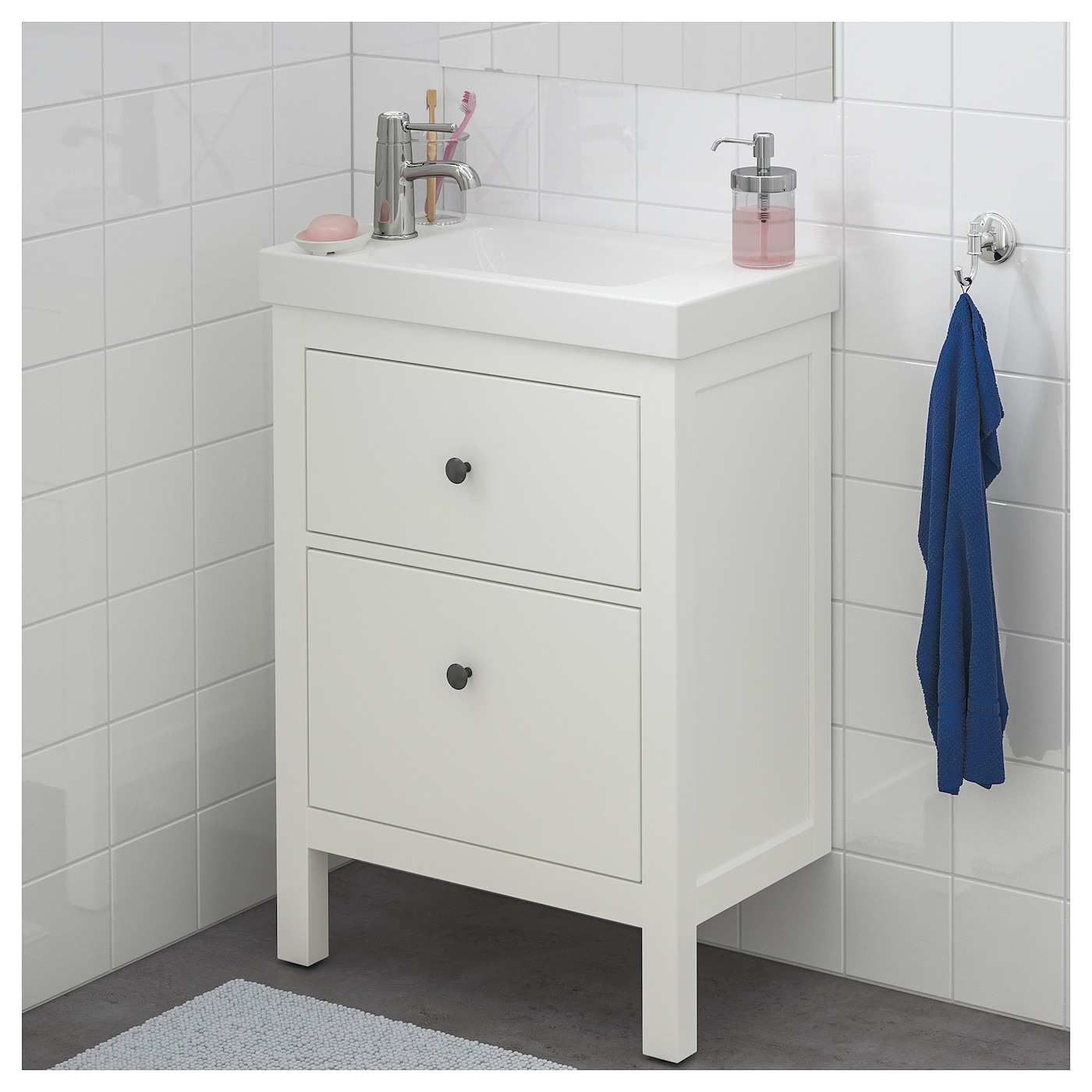 hemnes hagaviken meuble lavabo 2tir blanc 63x34x90 cm ikea. Black Bedroom Furniture Sets. Home Design Ideas