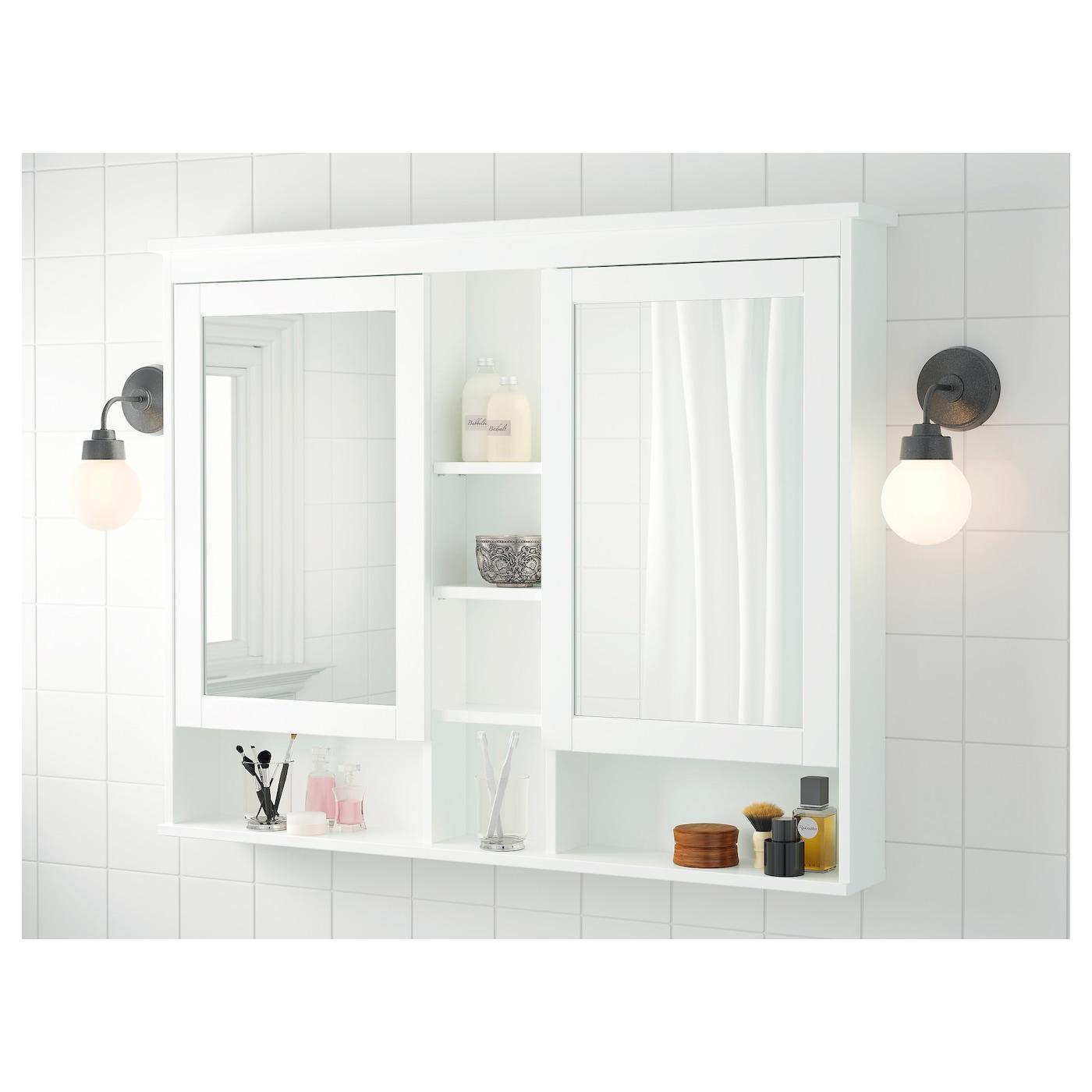 hemnes meuble miroir 2 portes blanc 120 x 98 cm ikea. Black Bedroom Furniture Sets. Home Design Ideas