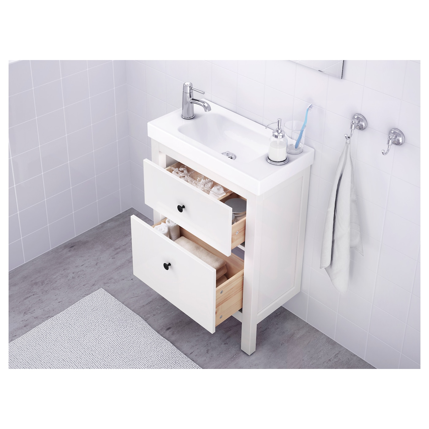 hemnes meuble lavabo 2tir blanc 60x32x83 cm - ikea