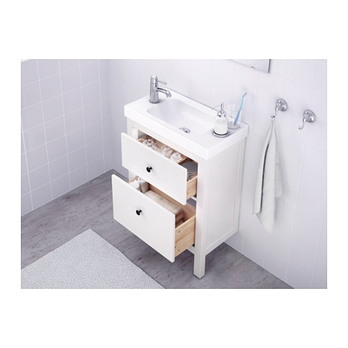 hemnes meuble lavabo 2tir blanc 60x30x83 cm ikea. Black Bedroom Furniture Sets. Home Design Ideas