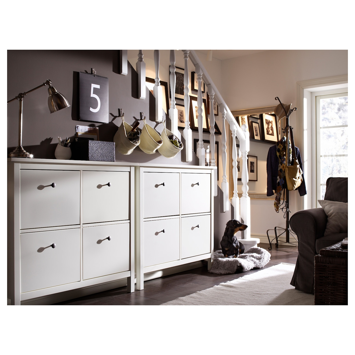 hemnes range chaussures 4 casiers blanc 107x101 cm ikea. Black Bedroom Furniture Sets. Home Design Ideas