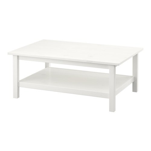 Hemnes table basse teint blanc ikea - Table basse brun noir ...