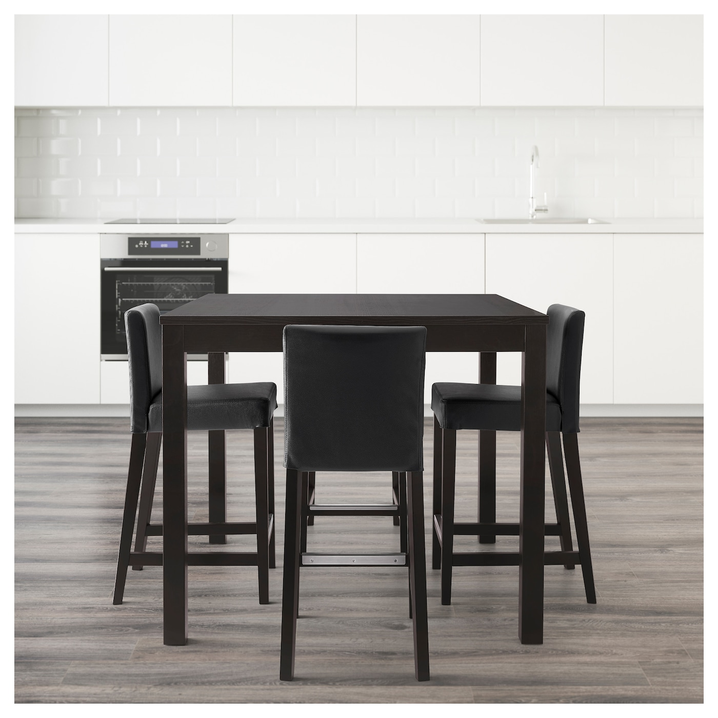 Henriksdal bjursta table de bar 4 tabourets brun noir for Table extensible ikea bjursta brun noir