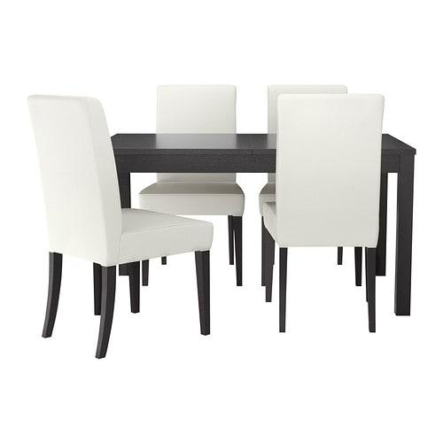 Henriksdal bjursta table et 4 chaises brun noir gr sbo for Table et chaise noir et blanc
