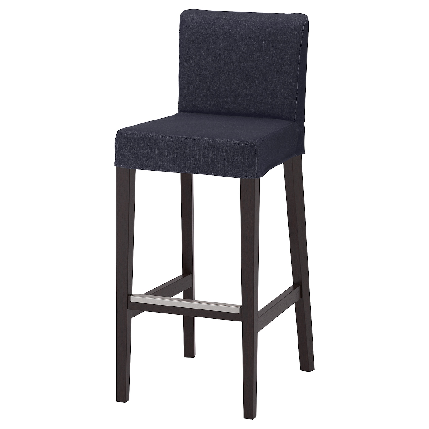henriksdal tabouret de bar dossier brun noir vansta bleu fonc 74 cm ikea. Black Bedroom Furniture Sets. Home Design Ideas