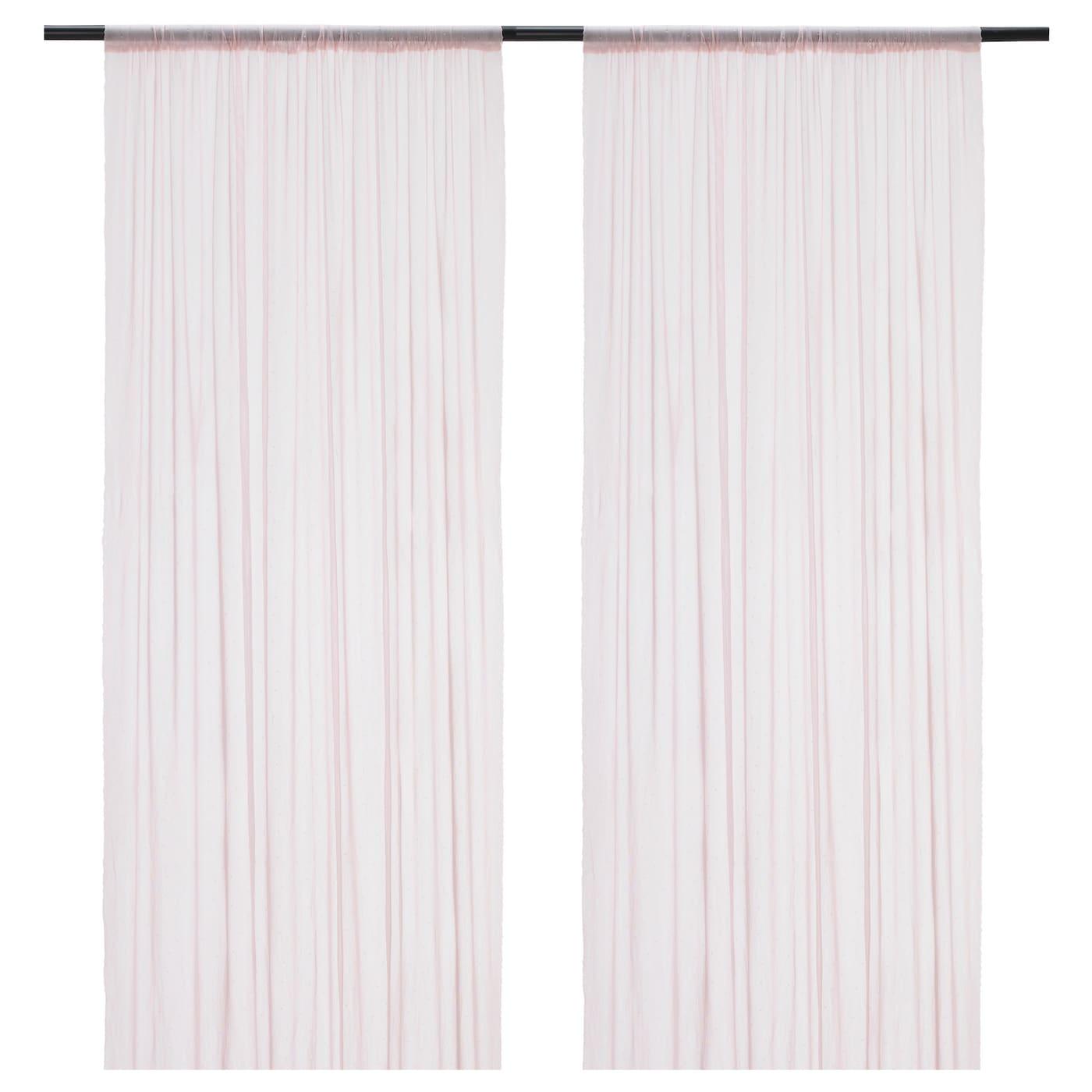 hildrun voilage 1 paire rose pois 145x300 cm ikea. Black Bedroom Furniture Sets. Home Design Ideas