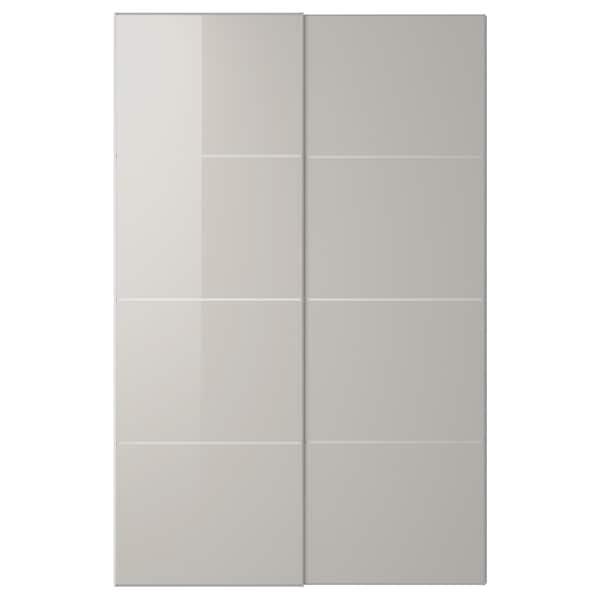 HOKKSUND Jeu 2 ptes coul, brillant gris clair, 150x236 cm