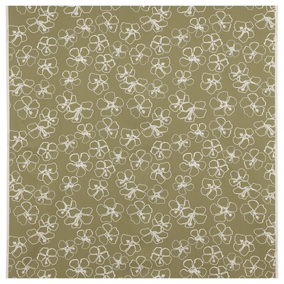 IDASARA Tissu au mètre, vert naturel/fleur, 150 cm
