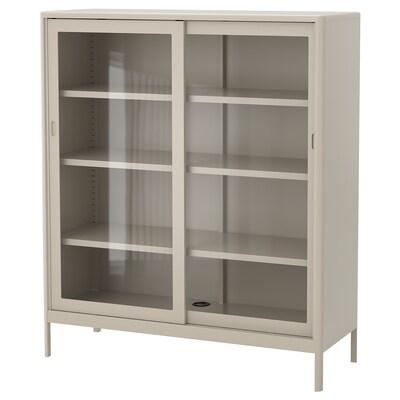 IDÅSEN Élément portes vitrées coulissantes, beige, 120x140 cm