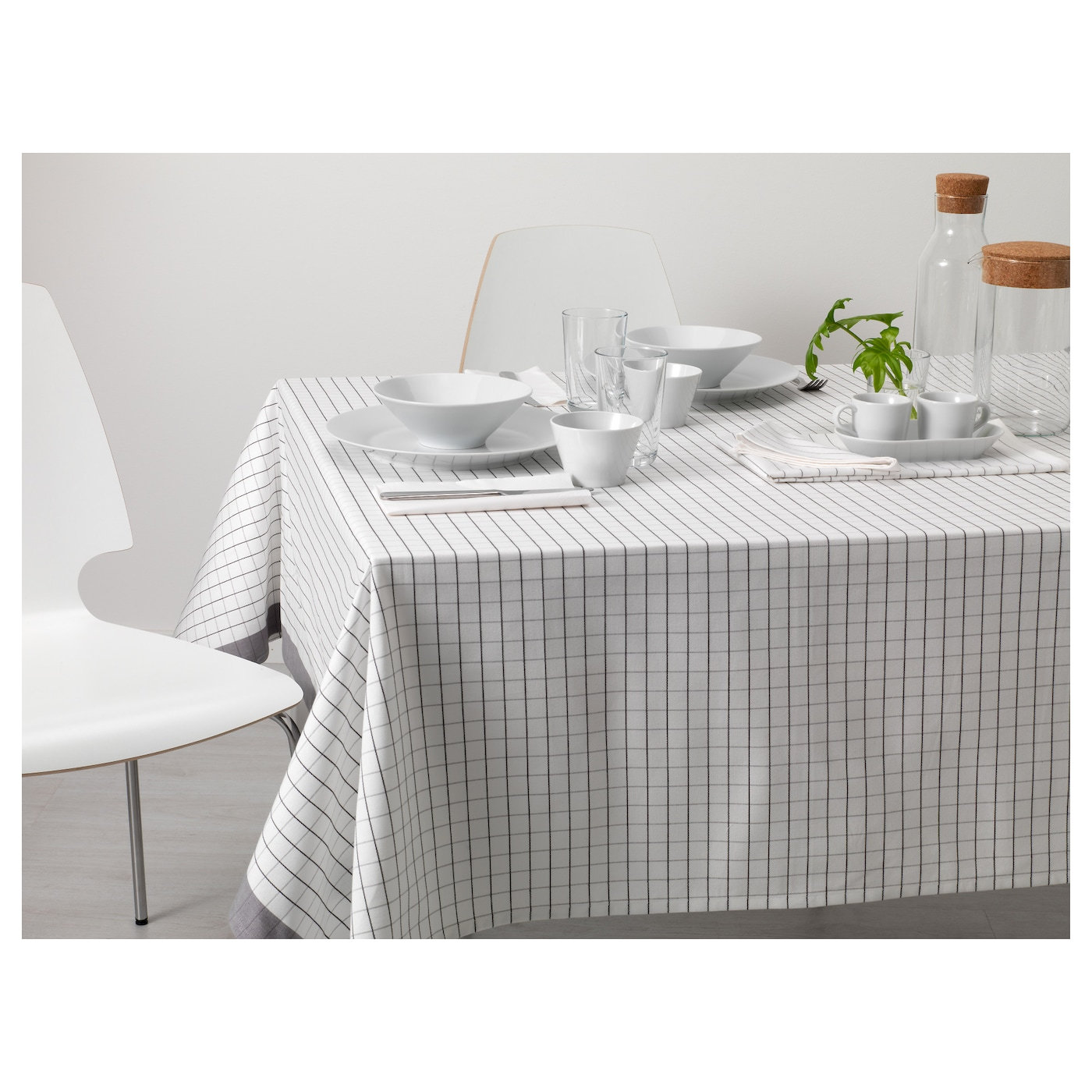 ikea 365 nappe blanc gris 145x240 cm ikea. Black Bedroom Furniture Sets. Home Design Ideas