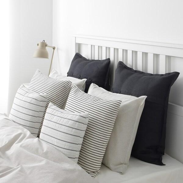 INGALILL Housse de coussin, blanc/gris foncé rayé, 50x50 cm