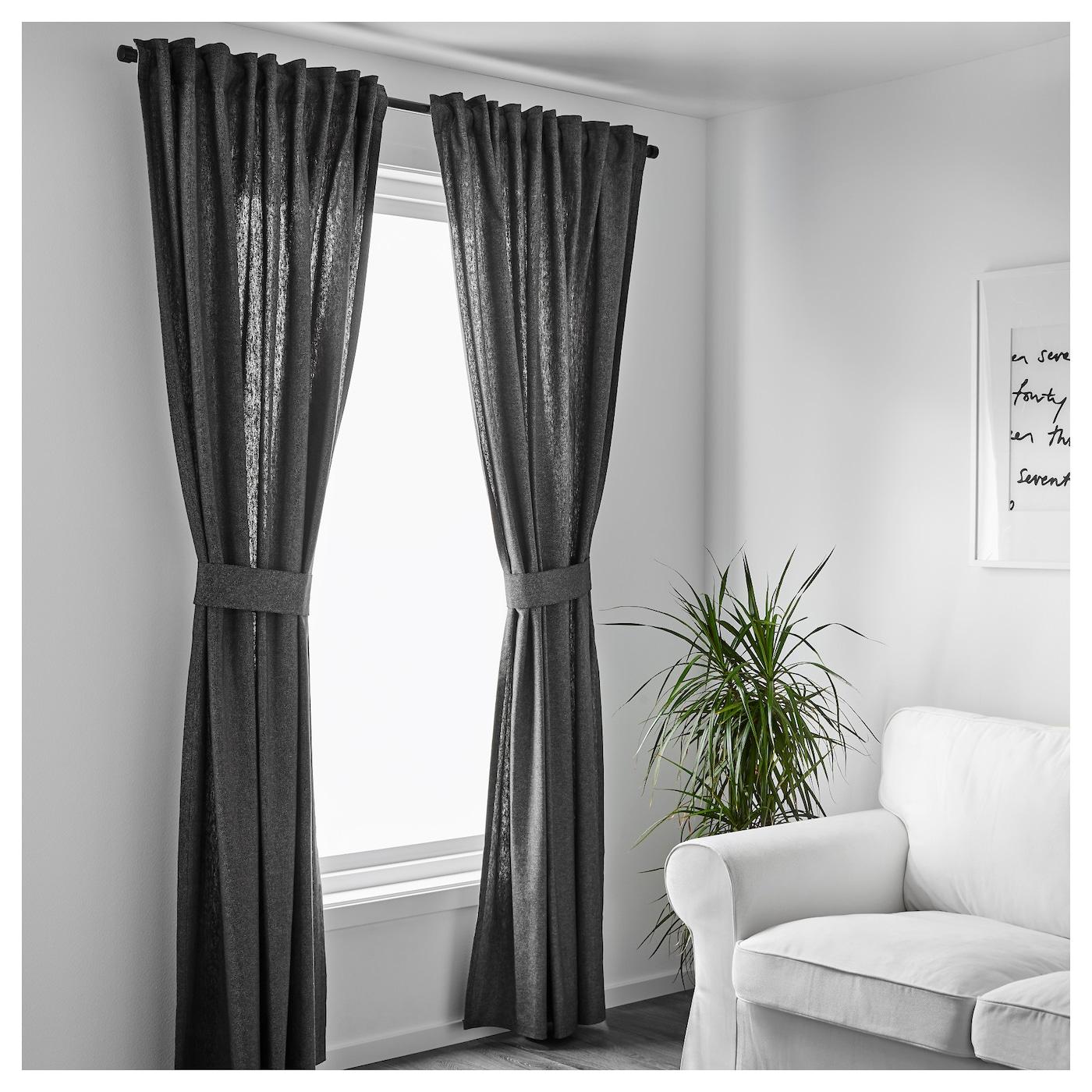 ingert rideaux embrasses 1 paire gris fonc 145x300 cm ikea. Black Bedroom Furniture Sets. Home Design Ideas
