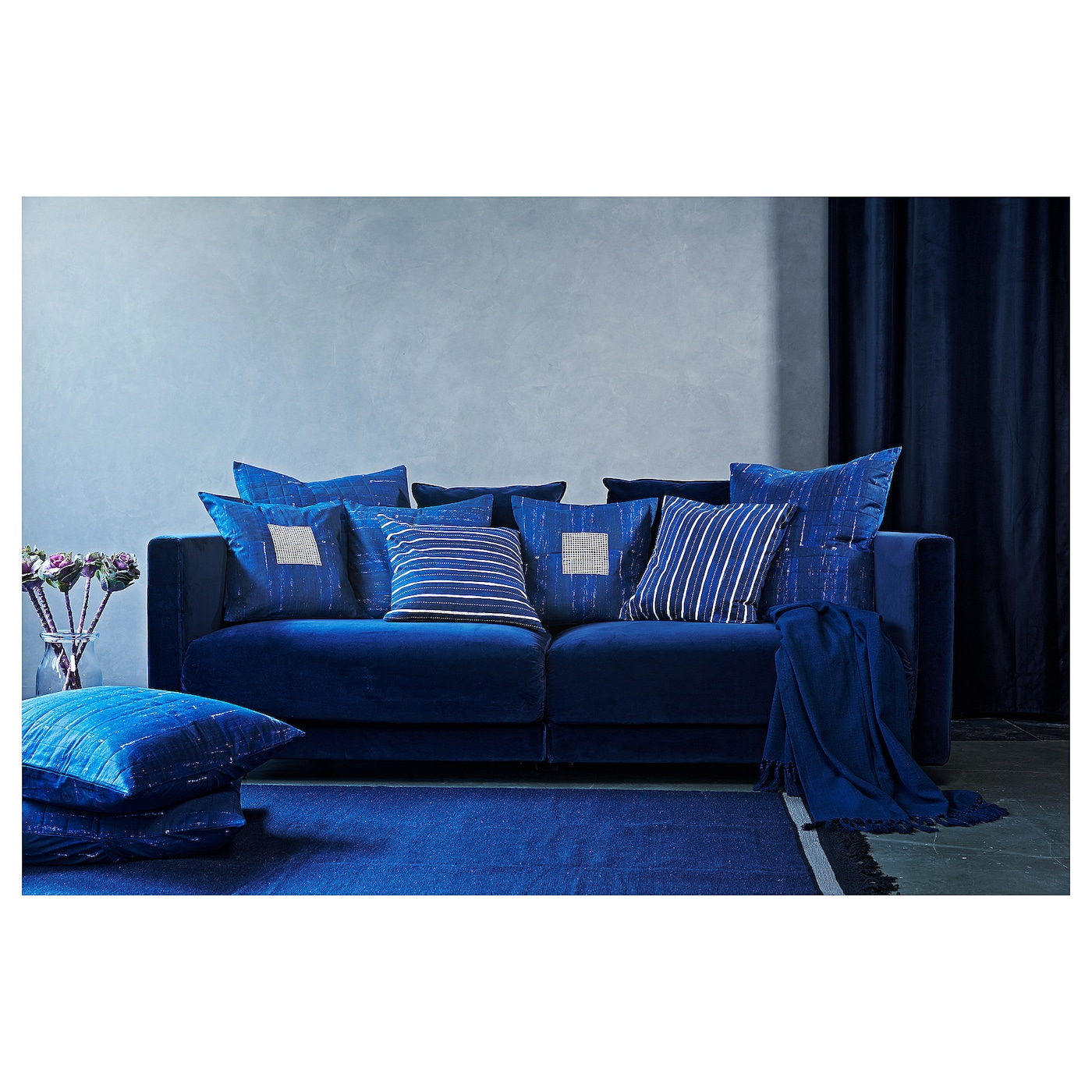 inneh llsrik housse de coussin fait main bleu 65x65 cm ikea. Black Bedroom Furniture Sets. Home Design Ideas