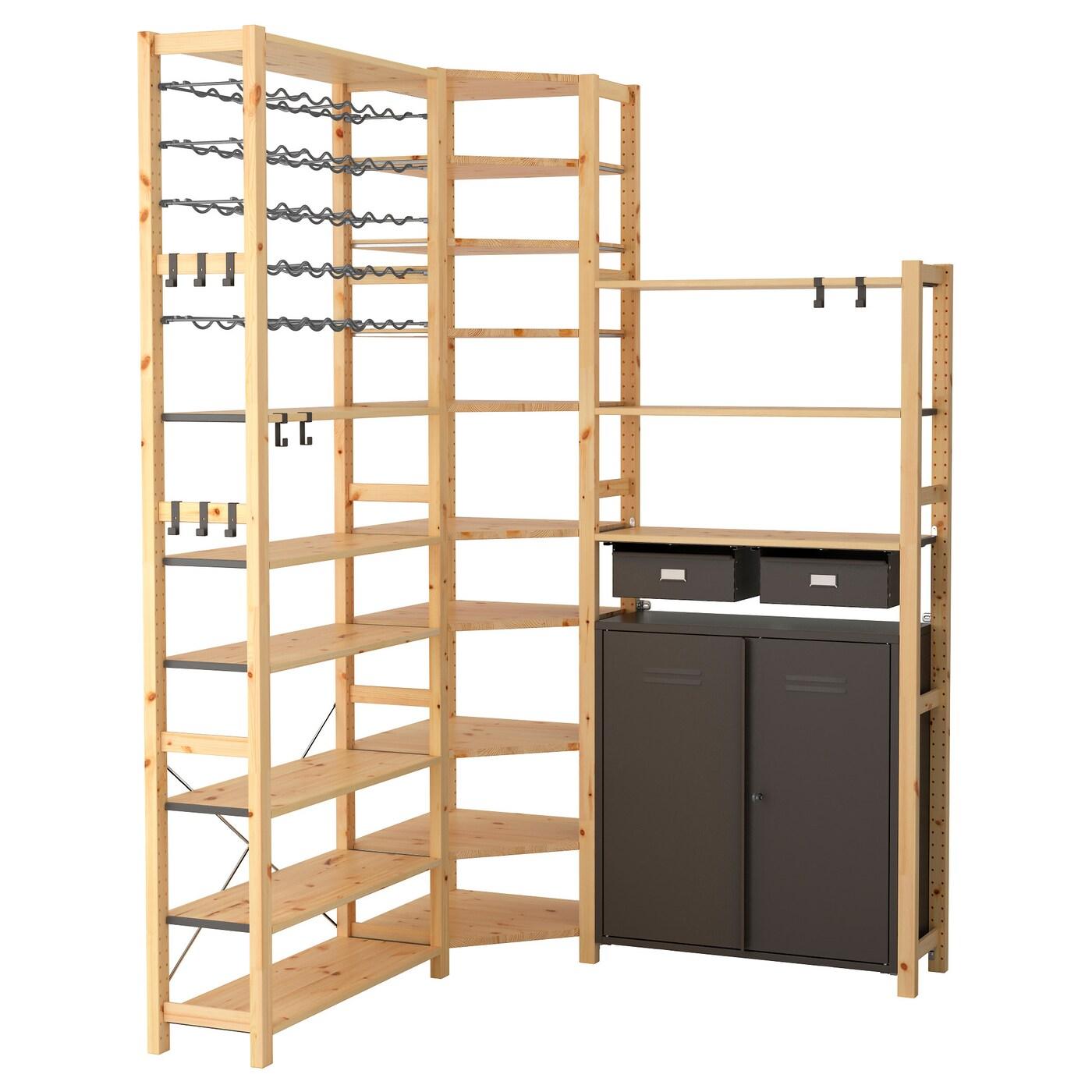 ivar 3 sections tablettes l ment pin gris 145 145 x 30 x 226 cm ikea. Black Bedroom Furniture Sets. Home Design Ideas