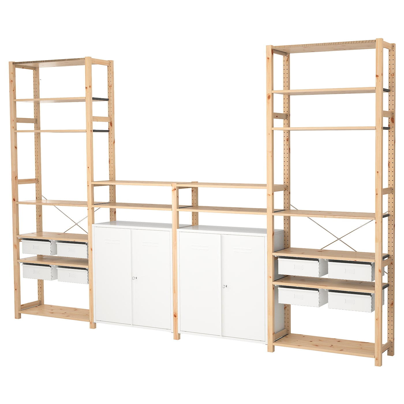 ivar 4 sections tablettes l ment pin blanc 344 x 30 x 226 cm ikea. Black Bedroom Furniture Sets. Home Design Ideas
