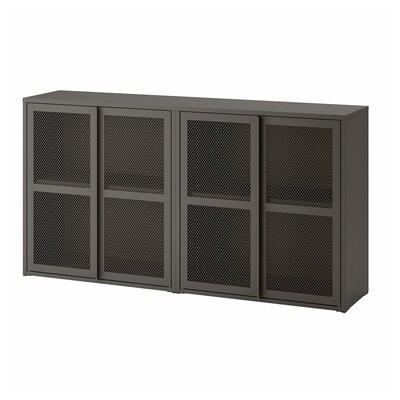 IVAR Armoire avec portes, gris grillage, 160x30x83 cm