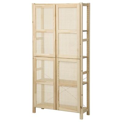 IVAR Étagère avec portes, pin, 89x30x179 cm