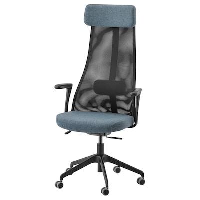 JÄRVFJÄLLET Chaise de bureau av accoudoirs, Gunnared bleu/noir
