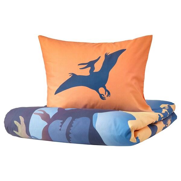 JÄTTELIK Housse de couette et 1 taie, dinosaures au lever du soleil orange/bleu, 150x200/50x60 cm