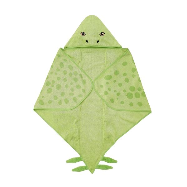 JÄTTELIK Serviette à capuche, dinosaure/stégosaure/vert, 140x97 cm