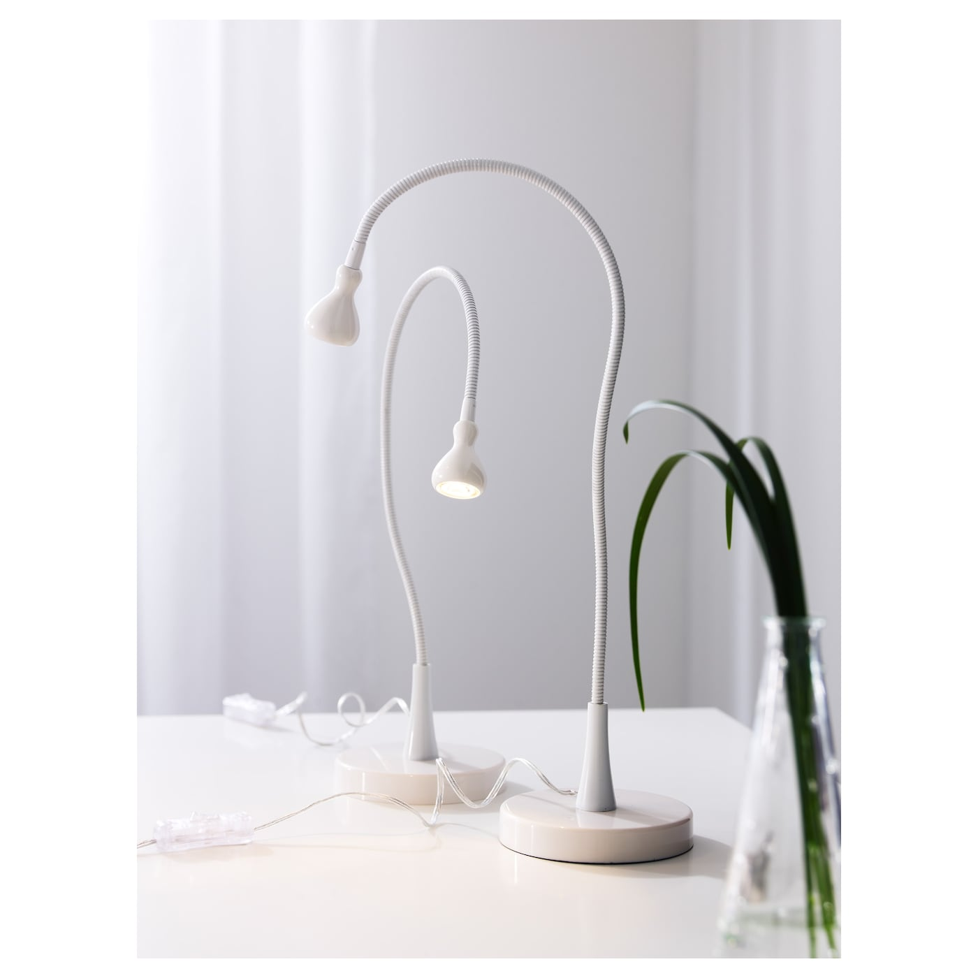 jansj lampe de bureau led blanc 60 cm ikea. Black Bedroom Furniture Sets. Home Design Ideas