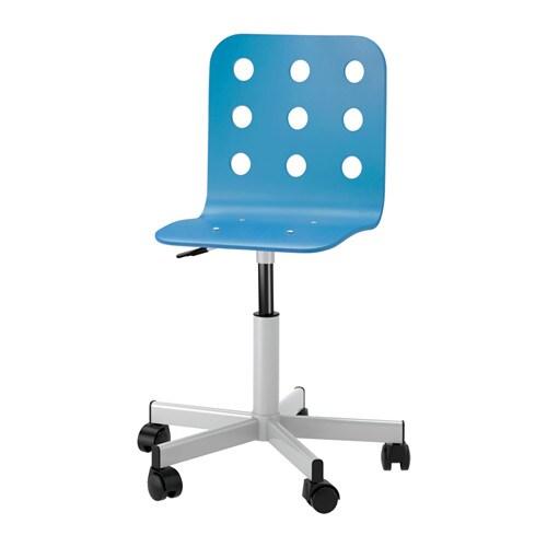 Jules junior chaise de bureau bleu couleur argent ikea for Chaise de bureau bleu