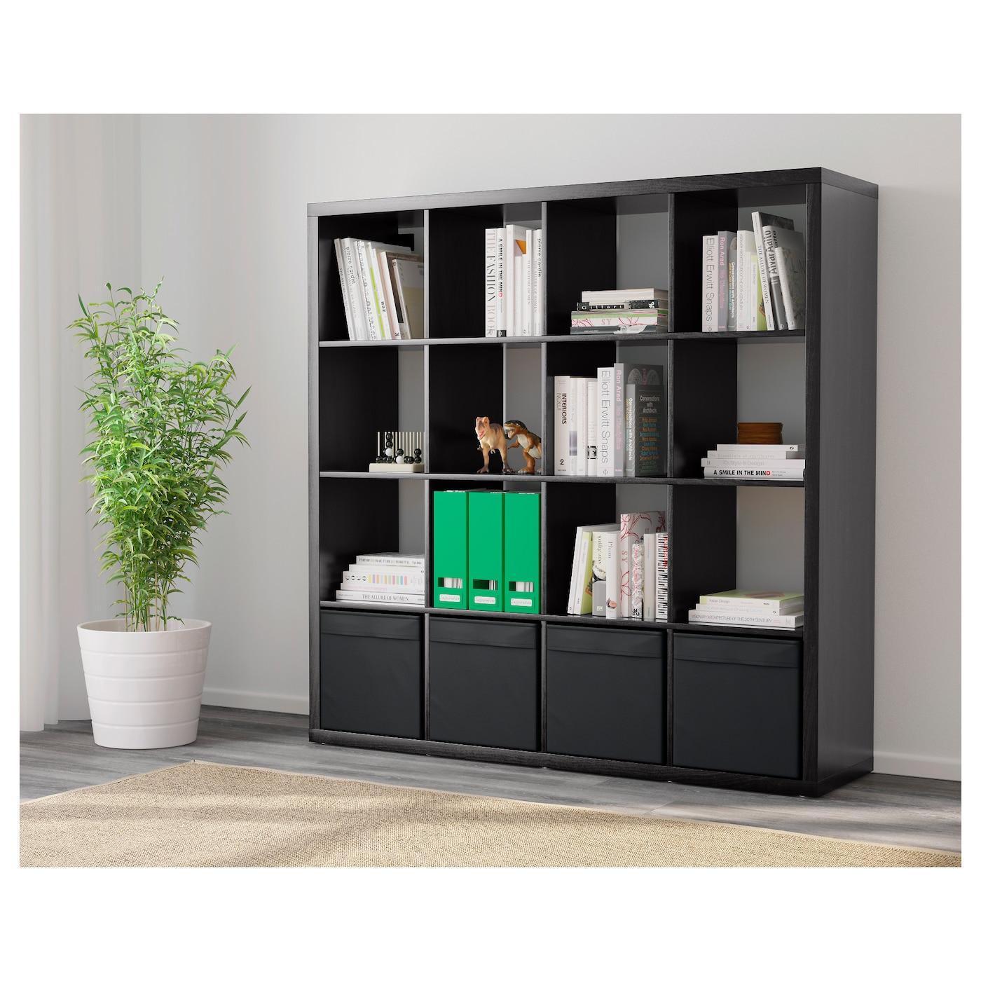 kallax tag re avec 4 accessoires brun noir 147x147 cm ikea. Black Bedroom Furniture Sets. Home Design Ideas