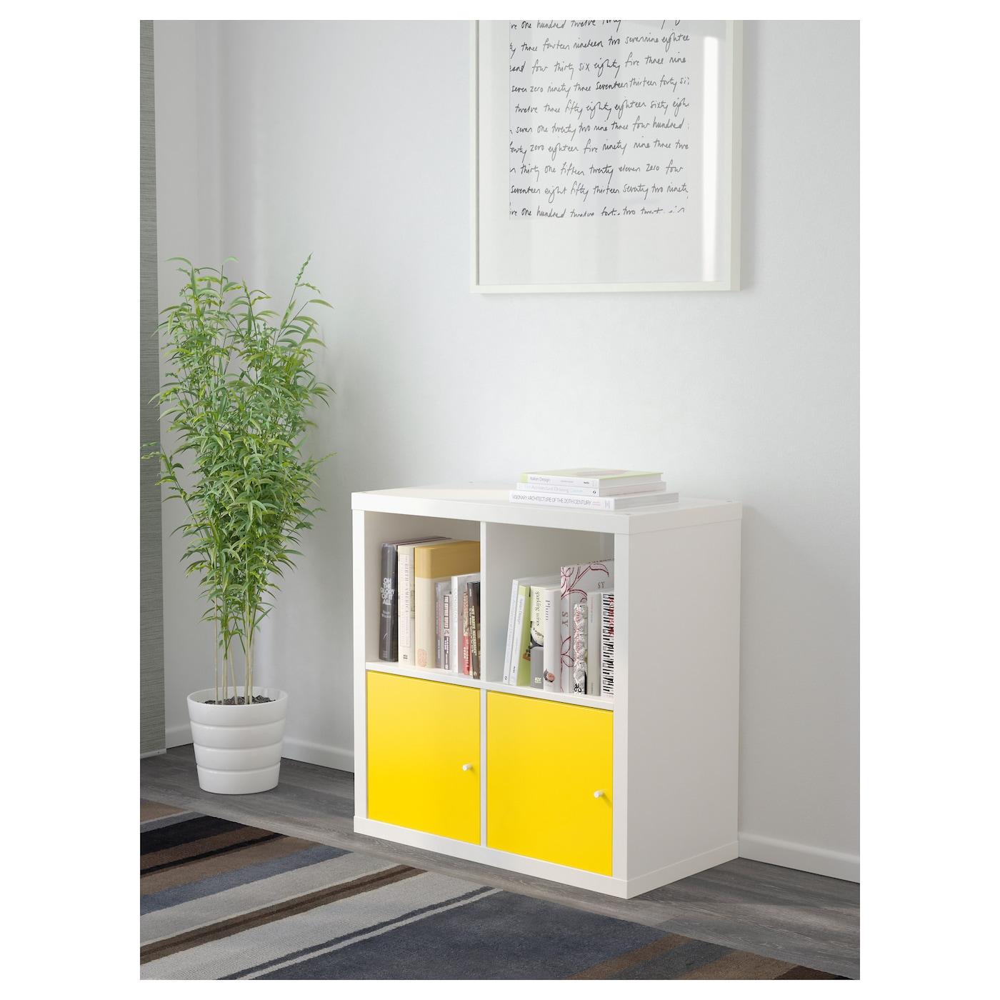 kallax tag re avec portes blanc jaune 77x77 cm ikea. Black Bedroom Furniture Sets. Home Design Ideas