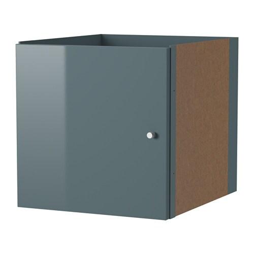 Kallax bloc porte brillant gris turquoise ikea for Porte kallax