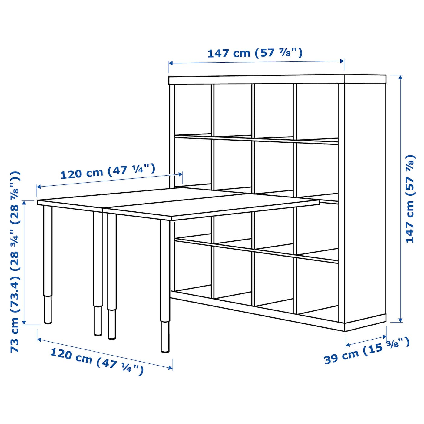 kallax combinaison bureau brun noir 147x147 cm ikea. Black Bedroom Furniture Sets. Home Design Ideas