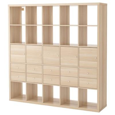 KALLAX Étagère avec 10 accessoires, effet chêne blanchi, 182x182 cm