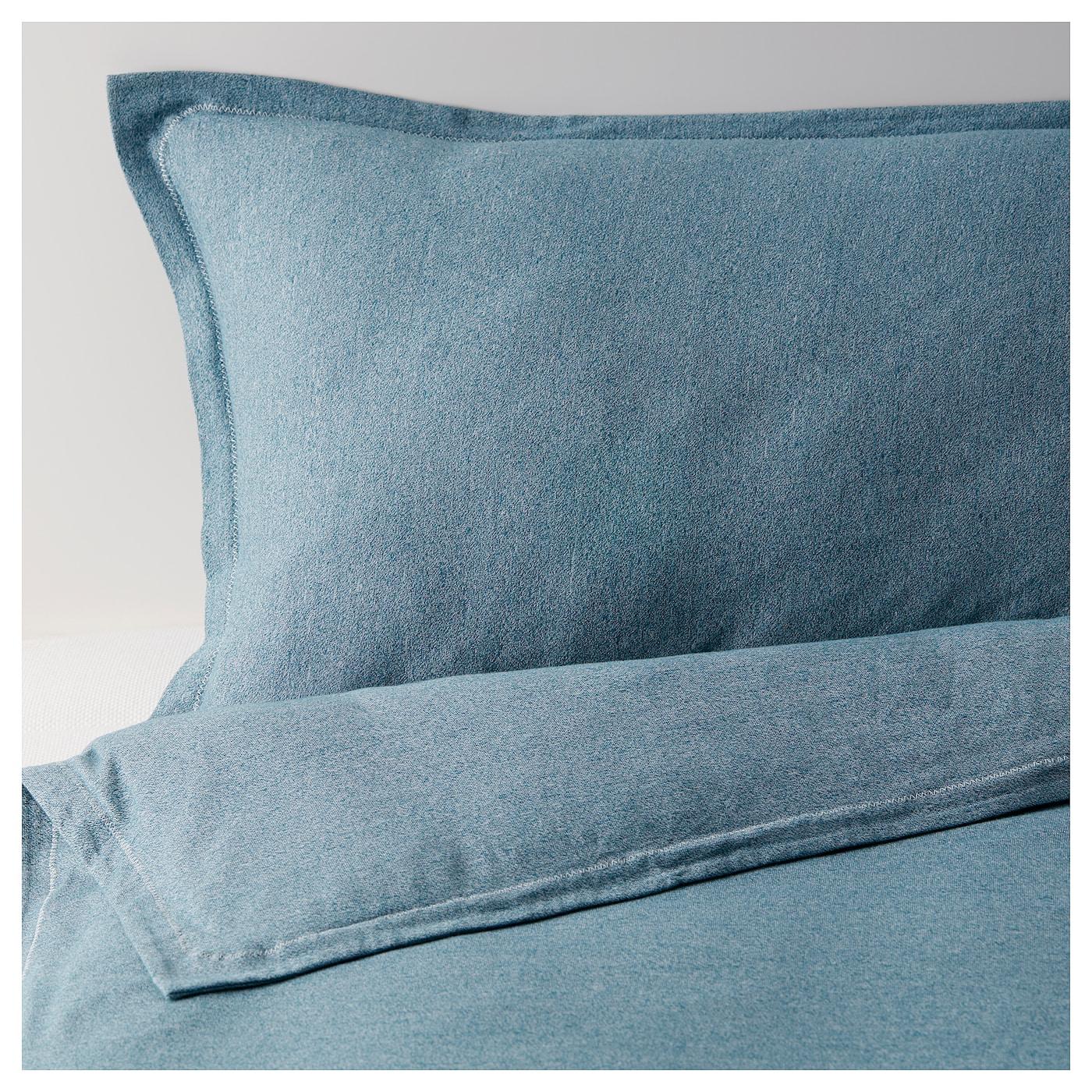 kejsartr d housse de couette et 2 taies vert bleu fonc 240x220 50x60 cm ikea. Black Bedroom Furniture Sets. Home Design Ideas