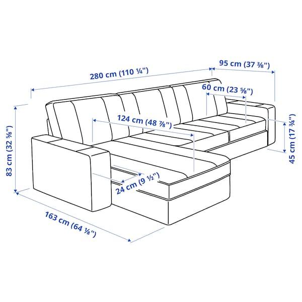 KIVIK Canapé 3 places, avec méridienne/Hillared bleu foncé
