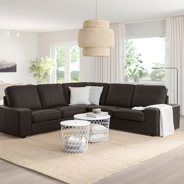 KIVIK Canapé d'angle, 4 places, Grann/Bomstad brun foncé