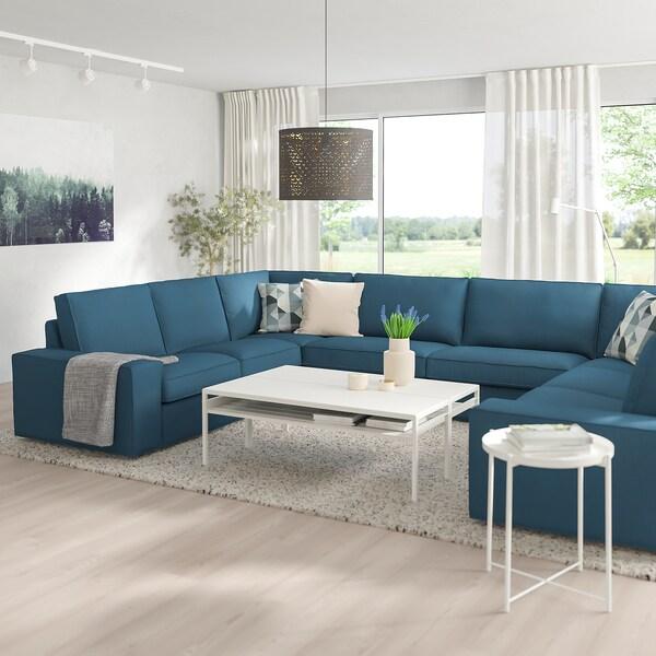 KIVIK canapé en U, 6 places Hillared bleu foncé 368 cm 257 cm 83 cm 24 cm 60 cm 45 cm