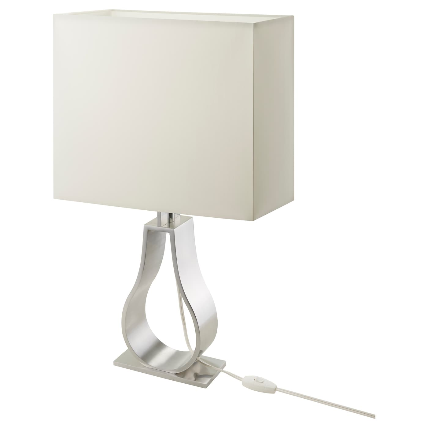 Klabb lampe de table blanc cass nickel 60 cm ikea for Lampe de table rona