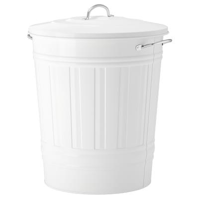 KNODD Poubelle avec couvercle, blanc, 40 l