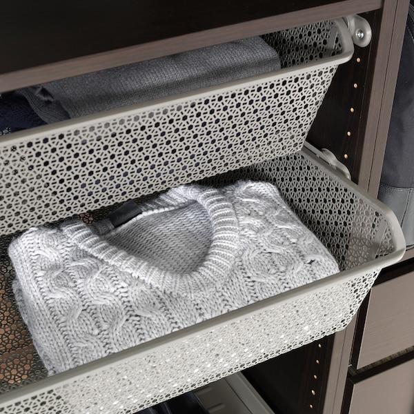 KOMPLEMENT Corbeille métal rail coulissant, gris foncé, 100x58 cm