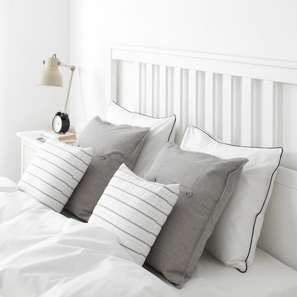KONSTANSE Coussin, blanc/gris foncé, 40x40 cm