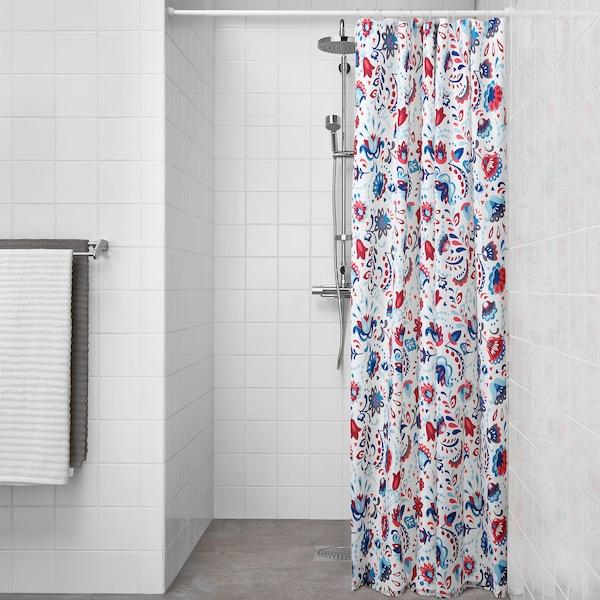 KRATTEN Rideau de douche, blanc/multicolore, 180x200 cm