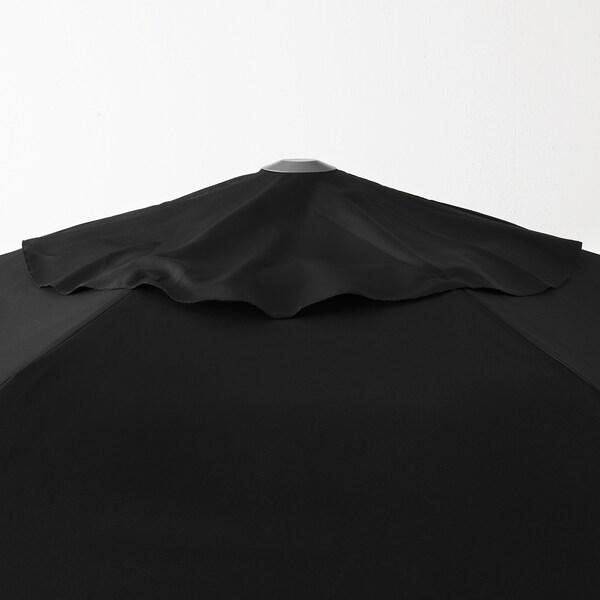 KUGGÖ / LINDÖJA parasol avec pied noir/Grytö gris foncé 180 g/m² 246 cm 300 cm