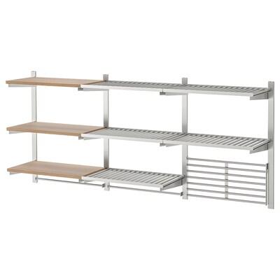 KUNGSFORS Rail susp/étag/rail/grille mur, acier inoxydable/plaqué frêne