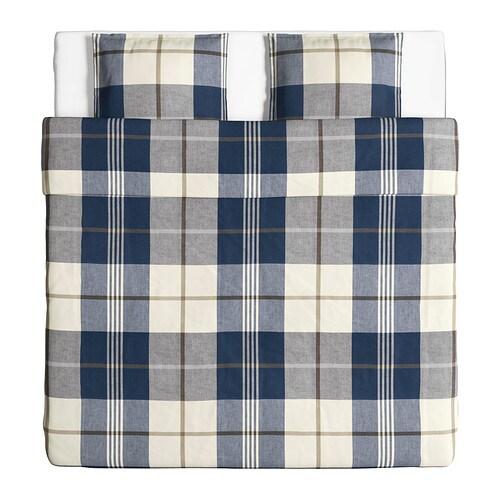 kustruta housse de couette et 2 taies bleu carreaux 240x220 50x60 cm ikea. Black Bedroom Furniture Sets. Home Design Ideas