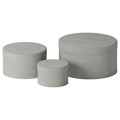 KVARNVIK Boîte, 3 pièces, gris